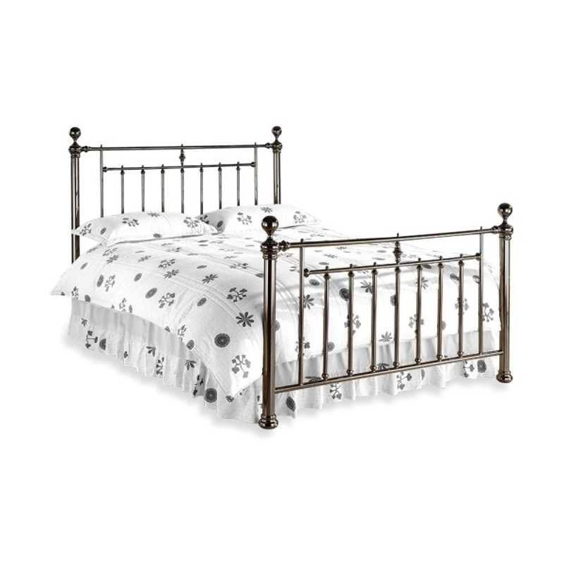Retro Metal Double Bed Frame Finished In Black White Background