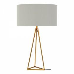 Tripod Geometric Metal Table Lamp Brass White