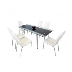 Montana 6 Person Dining Set with White Chairs