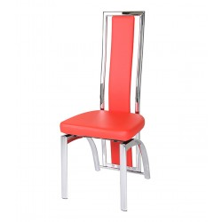 Arizona Faux Leather and Chrome Dining Chair Red Angled View