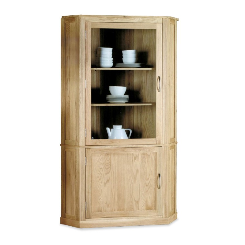 Teramo Oak Glazed Corner Display Cabinet