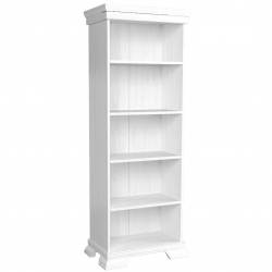 tall white open bookshelf