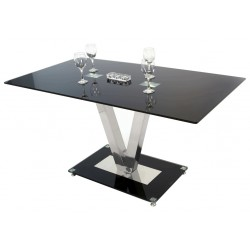 modern glass dining table with toughened glass table top