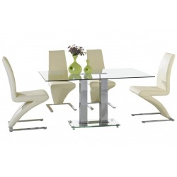 Nico Four Person Glass Dining Table and Chairs Set