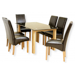 odessa six person glass dining table set