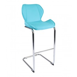 Nayar Faux Leather and Chrome Breakfast Bar Chair Aqua Blue side view