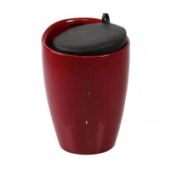 Cangilon Faux Leather Seat Low Stool Red/Black