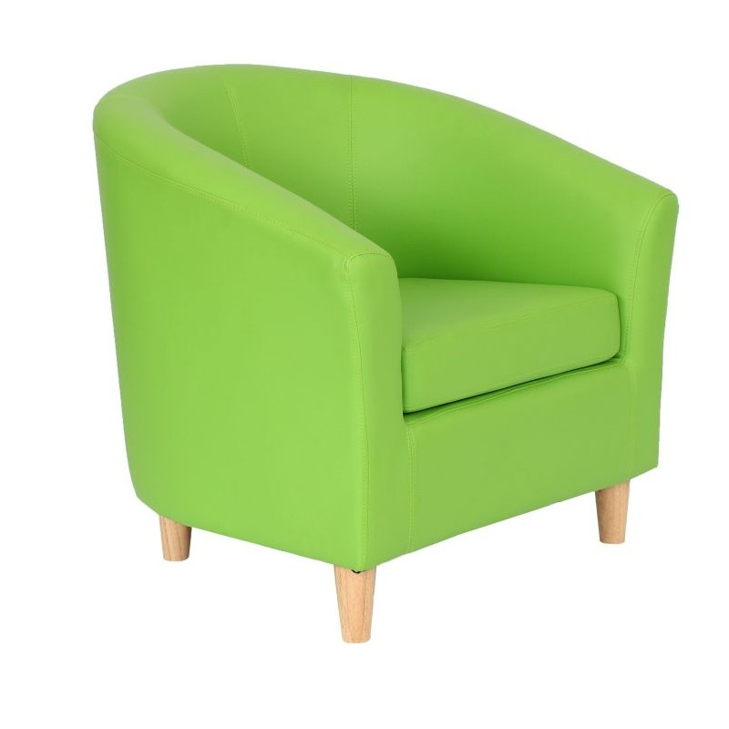 Funki Faux Leather Tub Chairs Lime Green Front View