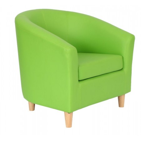 Funki Faux Leather Tub Chairs - Lime Green Front View.