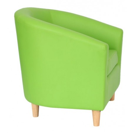 Funki Faux Leather Tub Chairs - Lime Green Side View.