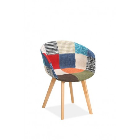 Sven Patchwork Dining Chairs Angled View