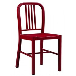 Navy Coloured Metal Dining Chair - Red