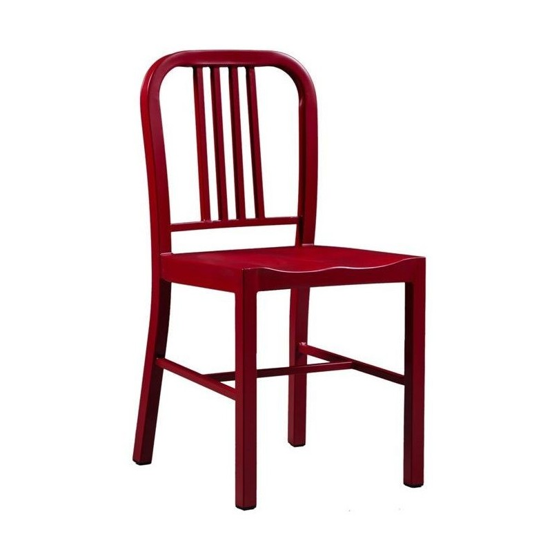 Navy Coloured Metal Dining Chair Red