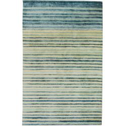 Izumo Striped Wool Jute Bamboo Rugs - Teal/ Cream
