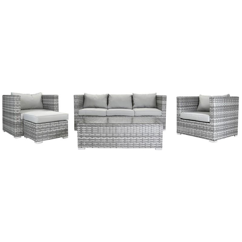 Rattan Lounge Set Sofa 2 Armchairs Light Grey Apollo