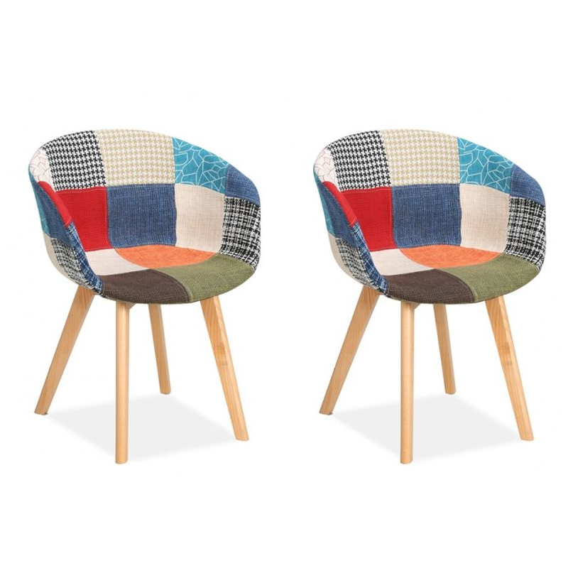 Sven Pair of Patchwork Dining Chairs