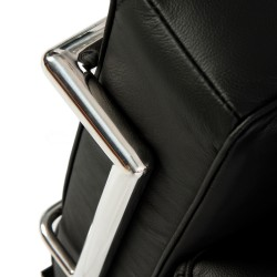 Le Corbusier Inspired Leather sofa black 3 seater Sied detail