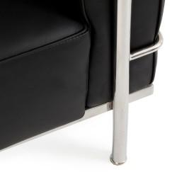Le Corbusier Inspired Leather sofa black 3 seater Leg detail