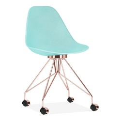 Aura Office Chair pastel blue and copper front view