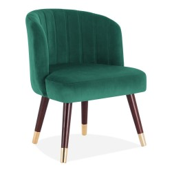 Pazia Velvet Chair green front angled  view