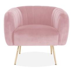 Seren Velvet Armchair pink front view