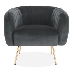 Seren Velvet Armchair grey front view