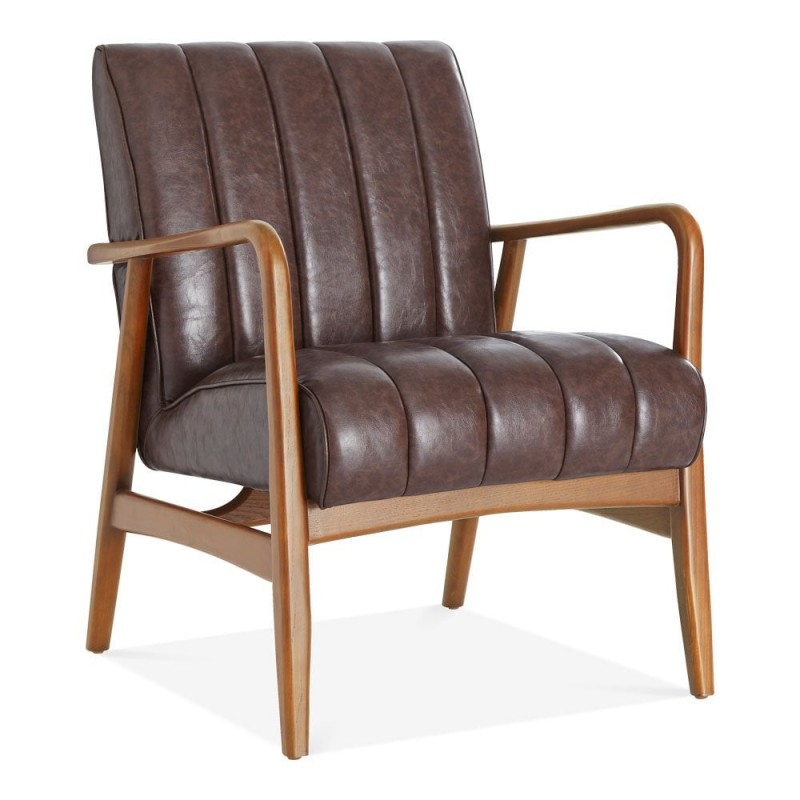 Weston Faux Leather Armchair brown front angle view