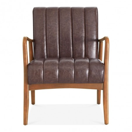 Weston Faux Leather Armchair brown front view