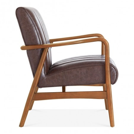 Weston Faux Leather Armchair brown side view