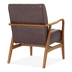Weston Faux Leather Armchair brown back view