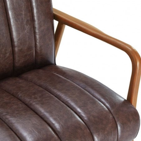 Weston Faux Leather Armchair brown seat close up