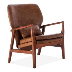 Brantley Faux Leather Armchair tan, front angled view