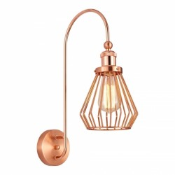 Hetton Industrial Cage Metal Wall Light Copper