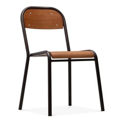 Diego School Style Dining Chair rustic front angled view