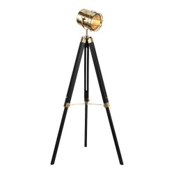 Miami Floor Lamp, black and brass