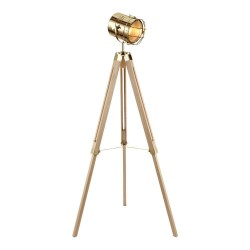 Miami Floor Lamp natural and brass