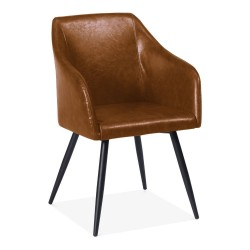 Fenwick Faux Leather Dining Armchair tan  front angle view
