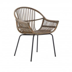 Siena Grey wash Rattan Chair front angle view