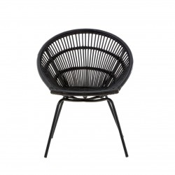 Licata Rattan chair black front view