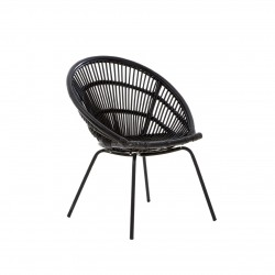 Licata Rattan chair black front angled view