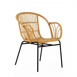Rialma Rattan Chair Natural,  front angled view