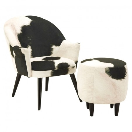 Angus Cowhide Armchair with stool