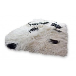 Inga Icelandic Sheepskin Rug natural off white with black spots white background