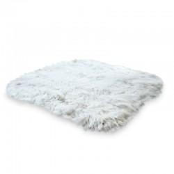 Unna Icelandic Sheepskin Rug. Top view. White background.