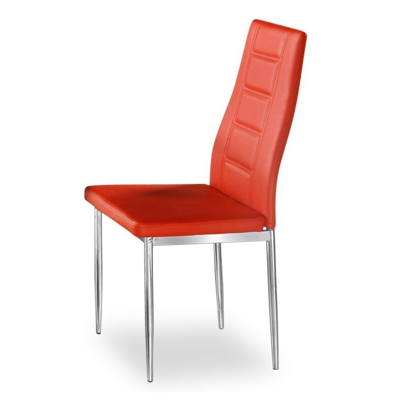 Varna Red Faux Leather Dining Chair