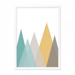 Mountain range print in green and mustard with a wooden frame