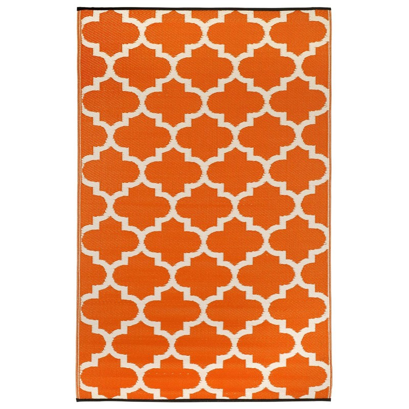 Fab Hab Tangier Outdoor Rug carrot and white front view
