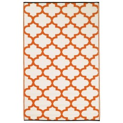 Fab Hab Tangier Outdoor Rug carrot and white reverse