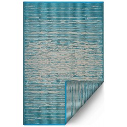 Fab Hab Brooklyn Outdoor Rug teal top view with reverse corner