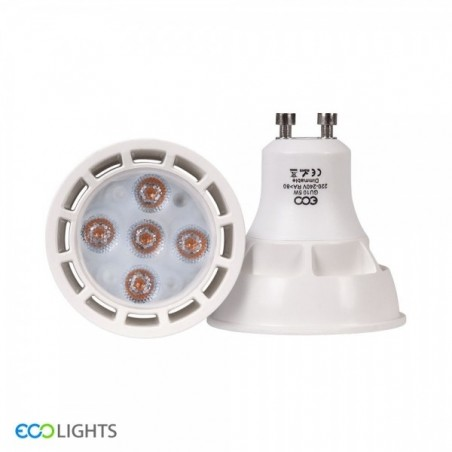 GU10 LED Dimmable Spotlight Bulb side & front view